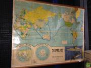 Sale 8622 - Lot 2117 - Vintage School World Map (AF)
