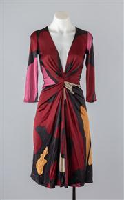 Sale 8685F - Lot 67 - An Issa, London patterned silk sheath dress with gathered waist, size UK 10