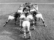 Sale 8754A - Lot 54 - Epping Boys' High School Team, Marsfield, Sydney, NSW, 1969 - Forwards in a practice scrum 16 x 21cm