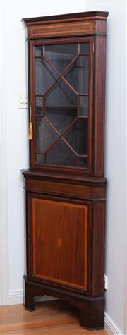 Sale 9005H - Lot 25 - A C19th mahogany inlaid corner cabinet with astraglazed door above cupboard base, Height 187cm x Width 62cm x Depth 45cm