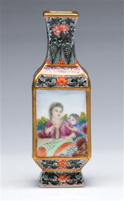 Sale 9104 - Lot 31 - A Chinese Enamelled Four Sided Vase, Panels Decorated with Landscape and Figural Scenes (H 14cm)
