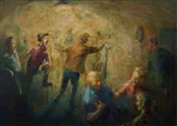 Sale 9125A - Lot 5040 - Michael (W.R) Lyons (1930 - 1985) - The Hecklers (Pub Scene) 54.5 x 74.5 cm (frame: 64 x 85 x 3 cm)