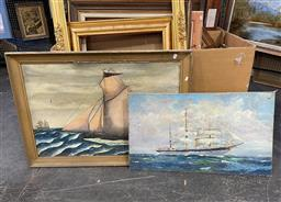 Sale 9113 - Lot 2096 - 2 Works: Artists Unknown, maritime oil paintings (AF) & Another, largest is 73 x 103 cm (frame size)