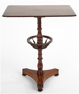 Sale 9199J - Lot 78 - A rare Victorian knitting table, the rectangular plank top over a turned pedestal with a spindle wool ball holder over a tri-form ba...