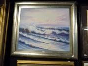 Sale 8441T - Lot 2060 - Framed Painting on Canvas Seascape signed T. Aglow