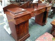 Sale 8634 - Lot 1070 - Early 19th Century Mahogony Twin Pedestal Sideboard, the raised pedestals each with a drawer and pylon door, the centre section with...