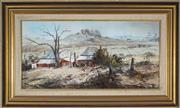 Sale 8938A - Lot 5001 - Fay Joseph (1939 - ) - Winter Morning Down the Tumbarumba Road, Snowy Mountains, 1977 36 x 75 cm (frame: 58 x 96 x 5 cm)