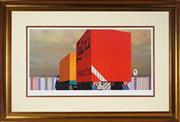 Sale 8953 - Lot 2036A - Jeffery Smart - Trucks & Trailer 47.5 x 95 cm (frame: 95 x 140 x 5 cm)