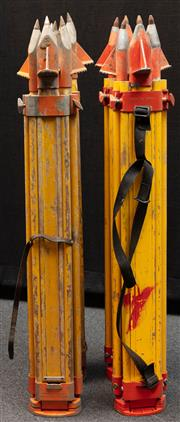 Sale 8984W - Lot 549 - A group of four surveyors tripods in predominantly timber with metal spikes. Approx height 108cm