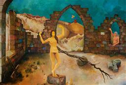 Sale 9116 - Lot 588 - Hugo Kocken (1921 - 2012) Goddess of the Ruins, 1996 oil on board 59.5 x 88.5cm (frame: 68 x 96 x 2 cm) signed and dated lower left