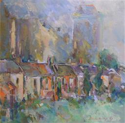 Sale 9137A - Lot 5009 - David Newbury (1925 - 2003) - Cityscape 60 x 60 cm (frame: 77 x 77 x 3 cm)