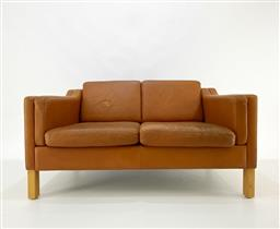 Sale 9252AD - Lot 5003 - DANISH TAN 2-SEATER SOFA, 1960s: elevated back on oak legs, original cognac tan leather upholstery showing heavy patina (l.132, d. 7...