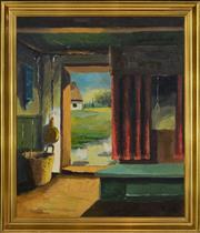 Sale 8325 - Lot 594 - Borch (XX) - European Farmhouse Interior 60 x 50cm