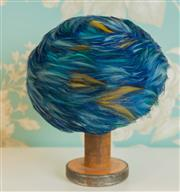 Sale 8448A - Lot 15 - Spectacular 1950s Union made USA blue pheasant feather ladies hat with netting Lining Condition: very good Size: 19cm