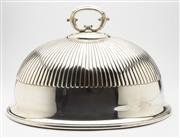 Sale 8620A - Lot 44 - A large and impressive Elkington & Co. silverplate meat dish cover manufactured in 1888, deeply fluted body below a large scrolled h...