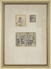 Sale 8771 - Lot 2018 - Vic OConnor (1918 - 2010) - Factory Scenes, 1950 10 x 14.5cm; 8 x 7cm; 5 x 4.5cm