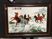 Sale 8752 - Lot 2044 - Timber Framed Chinese Painting of Horses on Porcelain