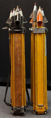 Sale 8984W - Lot 550 - A group of four surveyors tripods in predominantly timber with metal spikes. Approx height 108cm