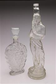Sale 9060 - Lot 95 - A glass Lidded Decanter H; 28cm And Figural Bottle H:42cm