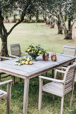 Sale 9200P - Lot 47 - A teak dining table, Height 78cm x Length 220cm x Width 100cm