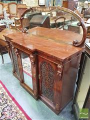 Sale 8416 - Lot 1042 - Victorian Mahogany Breakfront Credenza, with mirror back, the central mirror door flanked by pierced doors