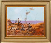 Sale 8415 - Lot 554 - Hugh Sawrey (1919 - 1999) - Smoke Talk (Raiding Party of the Pintubi - Central Australia) 34.5 x 45cm
