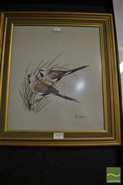 Sale 8464 - Lot 2085 - Peg Campbell Finches watercolour, SLR 32 x 28cm