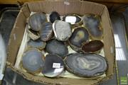 Sale 8489 - Lot 1091 - Box Natural Agates Basecut Polished