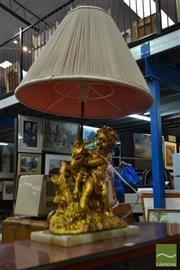 Sale 8507 - Lot 1036 - Gilt Cherub & Goat Table Lamp