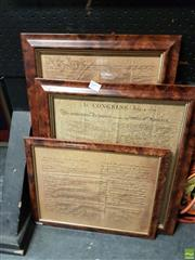 Sale 8573 - Lot 2073 - Burr Walnut Framed Declaration of Independence Prints