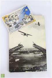 Sale 8630 - Lot 54 - Early Card A Memento Of the Worlds Greatest Achievement in Aviation and Broadcasting c1928 With Photographic Print of Monoplane