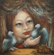 Sale 8675 - Lot 511 - Yvonne Frankart & Francis Lymburner (1916 - 1972) - Pigeons; Town Plaza Scene (verso) 49.5 x 49cm