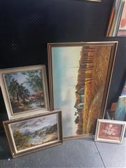 Sale 8833 - Lot 2066 - Group of (4) Paintings incl Country Scenes by Everett Woodson and Pat Godfrey (2), plus Floral Still Life by Unknown Artist