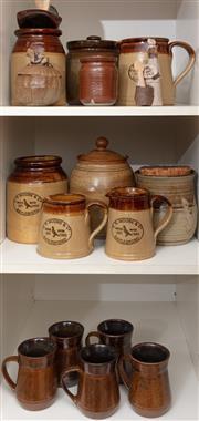 Sale 8926K - Lot 100 - A shelf lot of Australian studio kitchen wares including Daylesford
