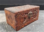 Sale 9080 - Lot 1057 - Carved Camphorwood Jewellery Box (H:13 W:26 D:15cm)