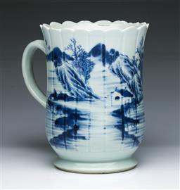 Sale 9093P - Lot 12 - 18th Century Chinese Blue and White Landscape Tankard (Small Chips H: 13.5 cm)
