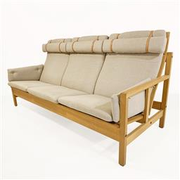 Sale 9252AD - Lot 5044 - BORGE MOGENSEN ELECTRIC SERIES 3-SEAT OAK SOFA #2253 FOR FREDERICA, 1956: newly refinished Scandinavian soap oak frame, with new gre...