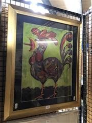 Sale 8807 - Lot 2061 - Artist Unknown Rooster, 2001 oil on paper, frame size: 57 x 48, signed Radovan
