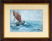 Sale 8853 - Lot 2027 - Artist Unknown - Sailing on Choppy Sea, 1939 16 x 24cm