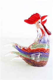 Sale 8963 - Lot 40 - Heavy artglass figure of a rooster (H21.5cm L20cm)