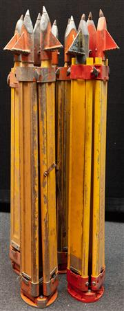 Sale 8984W - Lot 552 - A group of four surveyors tripods in predominantly timber with metal spikes. Approx height 108cm