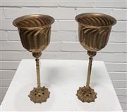 Sale 9080 - Lot 1009 - Pair of Brass Twisted Stem Goblets (H:32cm)