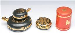 Sale 9093P - Lot 3 - Burmese Black Tortoise Lacquer Box and Red Lacquer Container with Lion (Tallest: 10 cm)