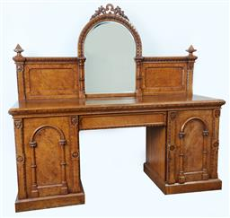 Sale 9123J - Lot 11 - A large antique English oak Gothic revival mirror back sideboard C: 1860. The carved and shaped mirror back above the apron fitted w...