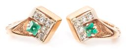 Sale 9160 - Lot 302 - A PAIR OF RUSSIAN 14CT GOLD DIAMOND AND GEMSTONE EARRINGS; chevron mounts each set with a square cut synthetic emerald adjacent to 5...