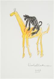 Sale 8504 - Lot 529 - Charles Blackman (1928 - ) - Giraffe and Panther, 2008 41 x 29cm (sheet size)