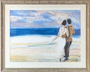 Sale 8575H - Lot 40 - Bruno Dutot - Lovers on the Beach Frame size H: 104cm x W: 13cm