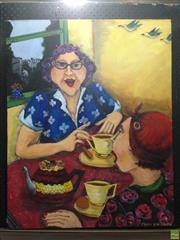 Sale 8622 - Lot 2014 - Fram Van Krieken, Having a Yarn, oil on canvas, 76.5 x 62cm, signed lower right