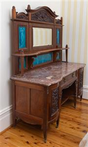 Sale 8649A - Lot 49 - A good Federation fiddle back blackwood washstand, the high carved and mirrored panel back set with turquoise tiles of water carrier...