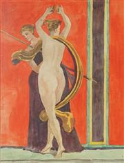 Sale 8755A - Lot 5075 - Rosamond Lindner (3 works) - Scenes from the House of Mysteries, Pompeii - c1920s 32.5 x 24.5cm (2); 29 x 21.5cm (1) (frames: 47 x 3...